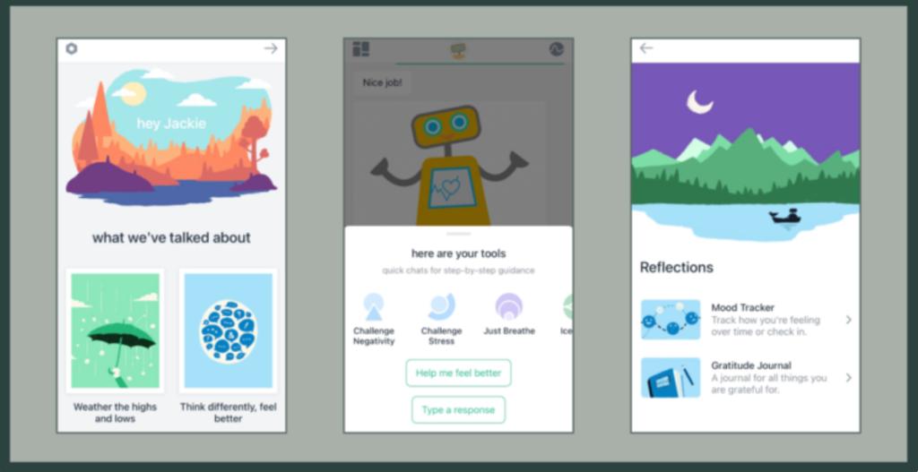 Diapo 4 : Image des fonctionnalités de Woebot sur des smartphones