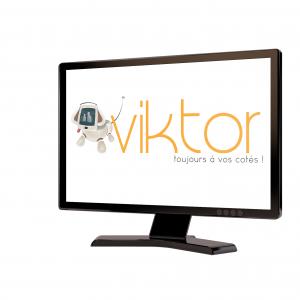 logo du coussin viktor représenté dans un écran télé