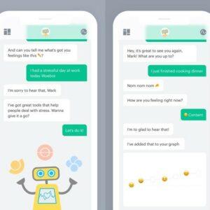 Image de l'application Woebot sur des smartphones  où le robot prend des nouvelles d'une personne par message