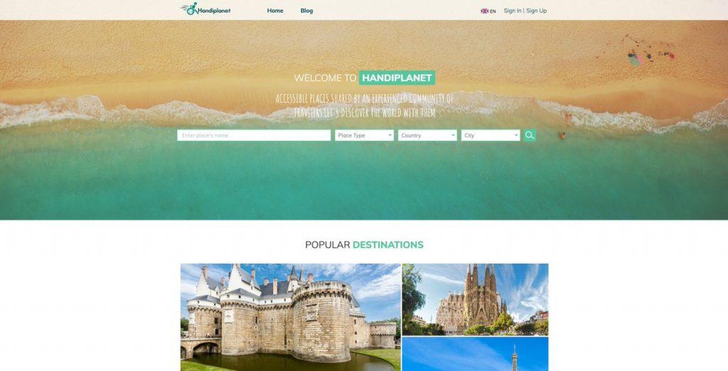 Diapo 2 : page d'accueil du site internet de handiplanet
