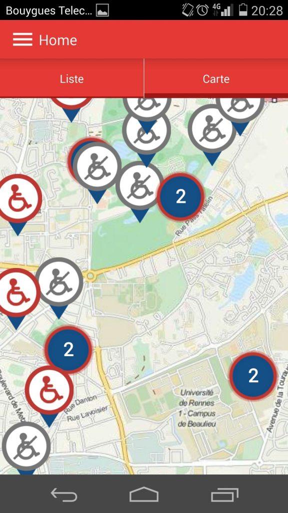 Diapo 1 : plan qui indique les toilettes accessibles et celles qui ne le sont pas