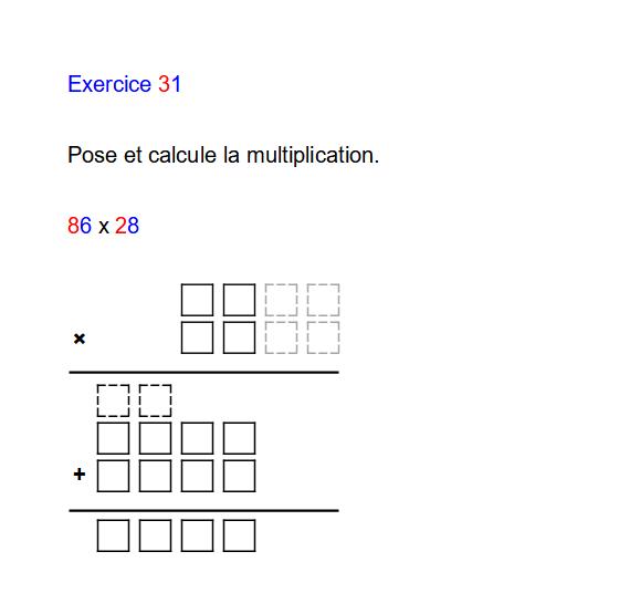 Diapo 4 : Image d'un exercice de la plateforme 'Cartable fantastique' qui représente un calcul à poser avec des chiffres en différentes couleurs pour aider l'enfant