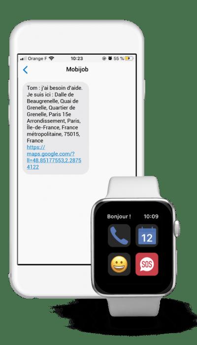 Diapo 3 : Interface de l'application Mobijob sur un smartphone et une montre connectée qui montre un message d'une personne demandant de l'aide en indiquant sa position