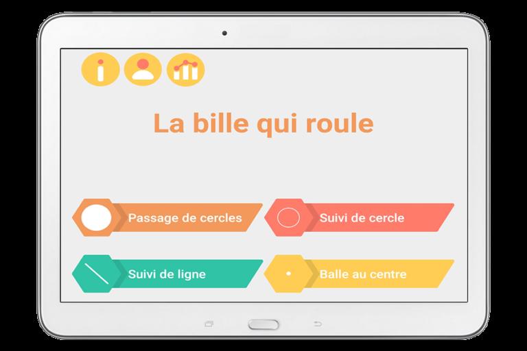 Diapo 1 : application la bille qui roule représenté sur un ipad