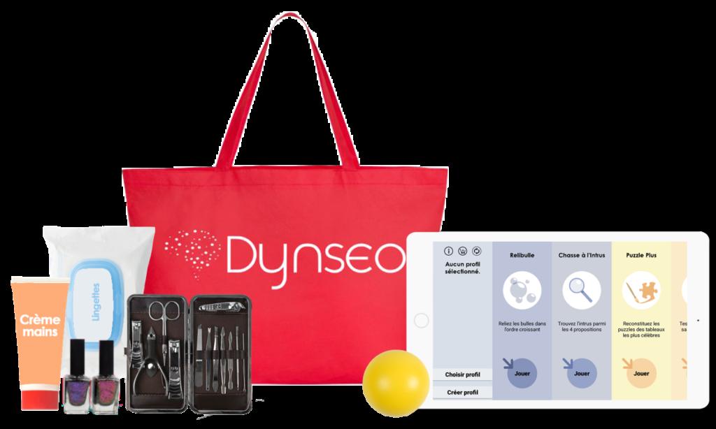 Diapo 3 : Image de la boite à outils Dynseo avec des vernis, des crèmes, une balle et une tablette