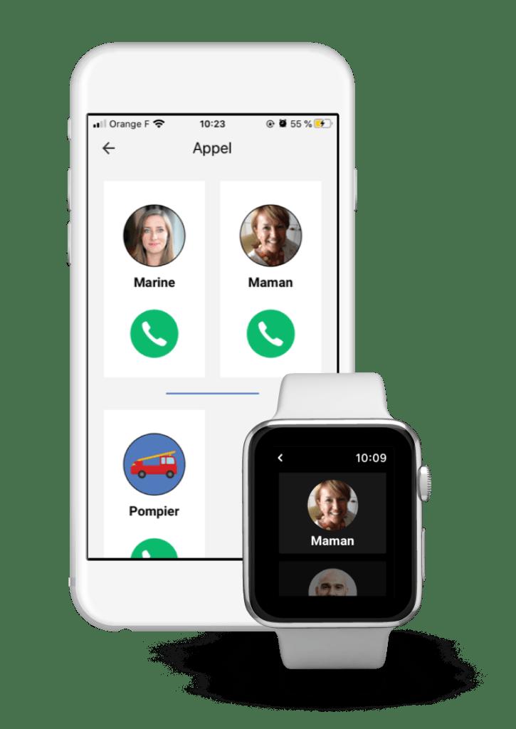 Diapo 2 : Interface de l'application Mobijob sur un smartphone et une montre connectée qui montre que l'on peux passer des appels avec