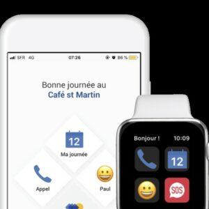 Interface de l'application Mobijob sur un smartphone et une montre connectée