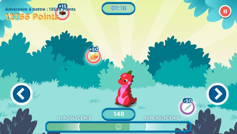 Diapo 4 : Image d'un jeu de l'application Glucozor où le dinosaure doit attraper de l'insuline
