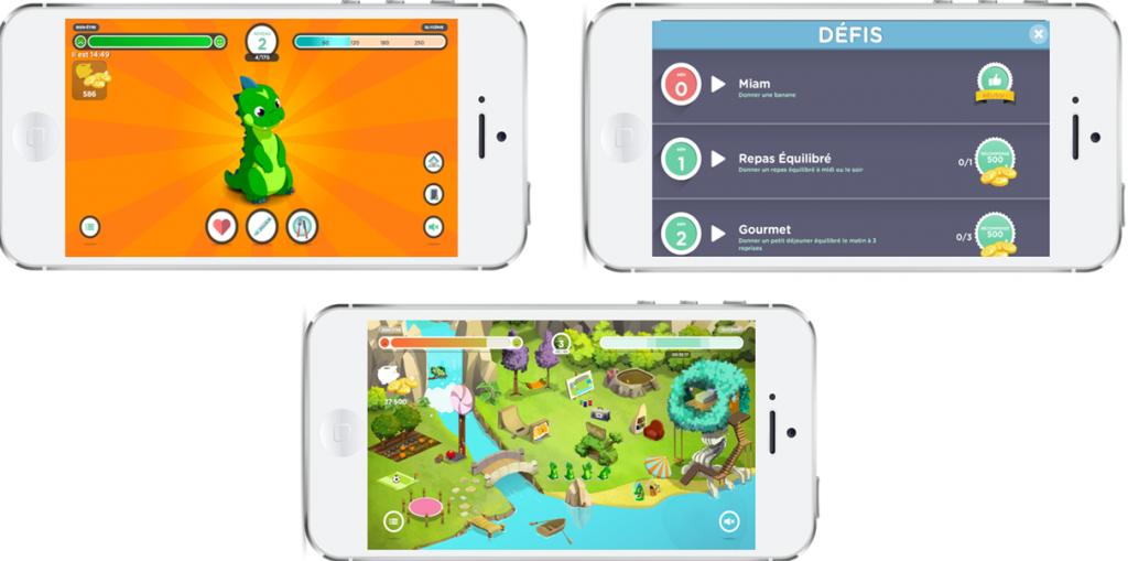 Diapo 2 : images représentant des smartphones avec l'application en fond d'écran