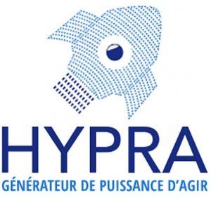 Logo de Hypra : une fusée avec un oeil au milieu