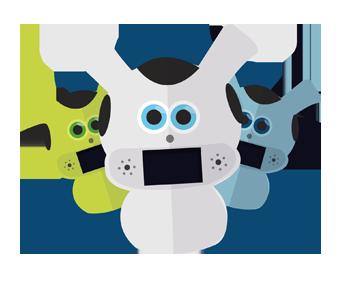 Diapo 3 : photo qui représente 3 robots mwoo