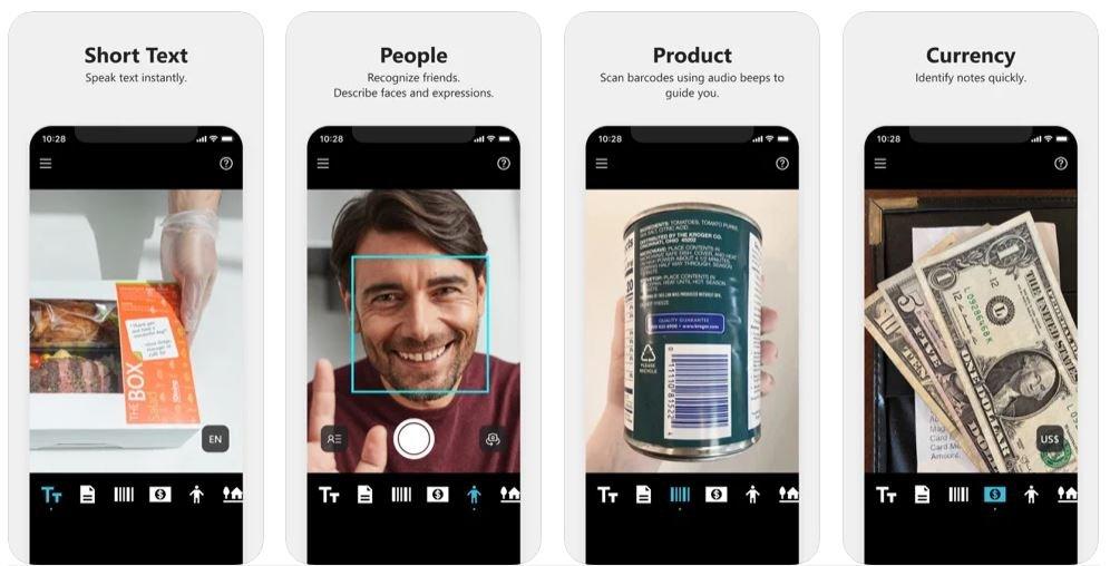 Diapo 4 : Image de l'application Seeing AI montrant qu'elle peut reconnaitre les visages, lire les textes courts, les produits et l'argent