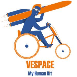 Diapo 6 : Image d'un des logos de MyHumanKit représentant un vélo-fauteuil roulant