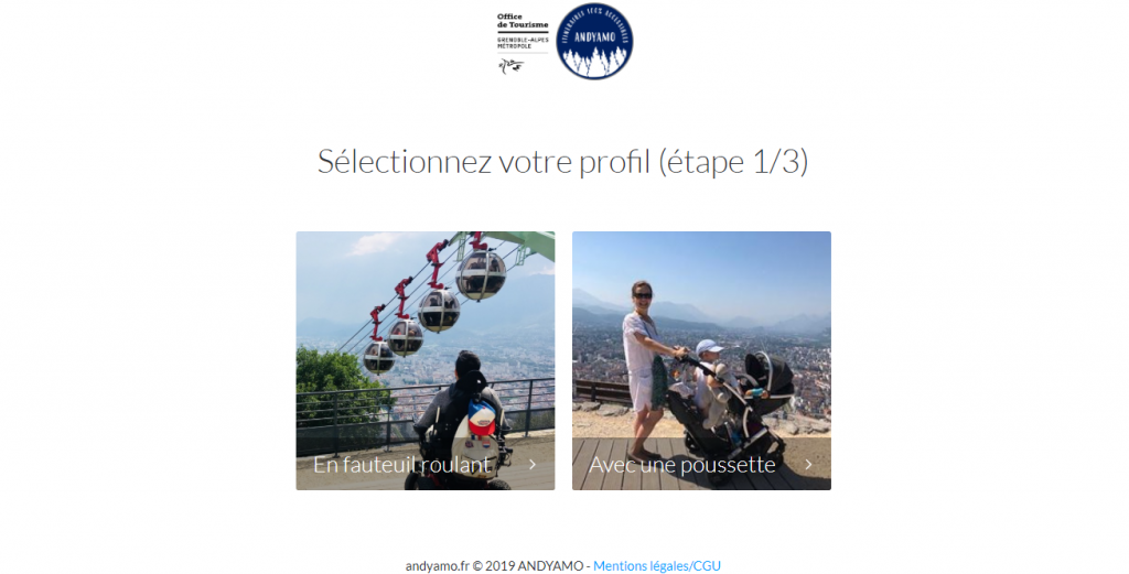 Diapo 6 : Capture d'écran du service d'itinéraire sur Grenoble, choix entre fauteuil roulant ou poussette