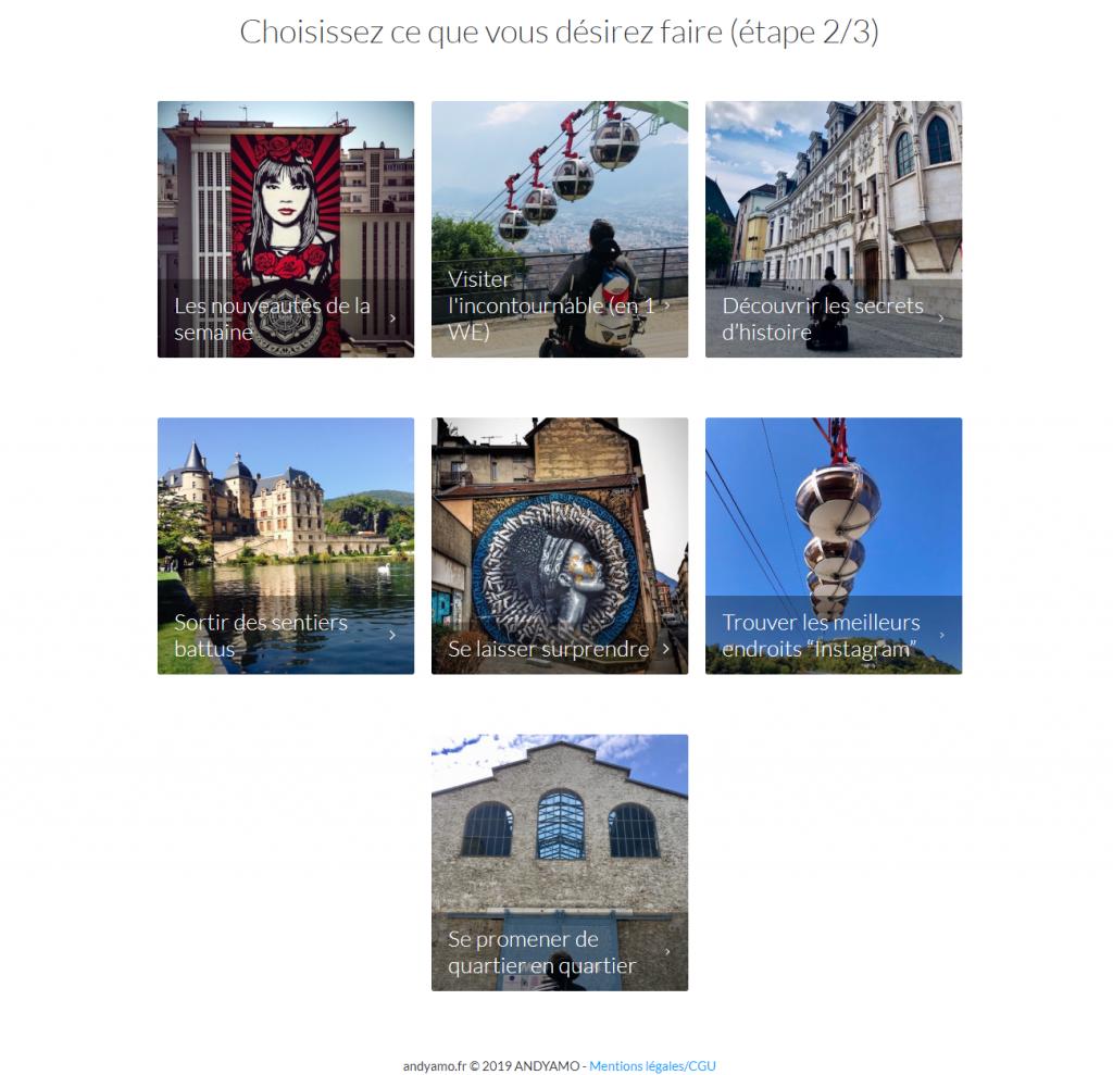 Diapo 4 : Capture d'écran du service d'itinéraire sur Grenoble, choix entre : les nouveautés de la semaine, visiter l'incontournable, découvrir les secrets d'histoire, sortir des sentiers battus, se laisser surprendre, trouver les meilleurs endroits 'instagram', se promener de quartier en quartier