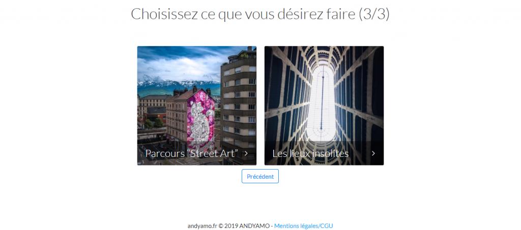 Diapo 5 : Capture d'écran avec proposition une fois les deux choix effectués, ici : découvrir le street art, les endroits insolites
