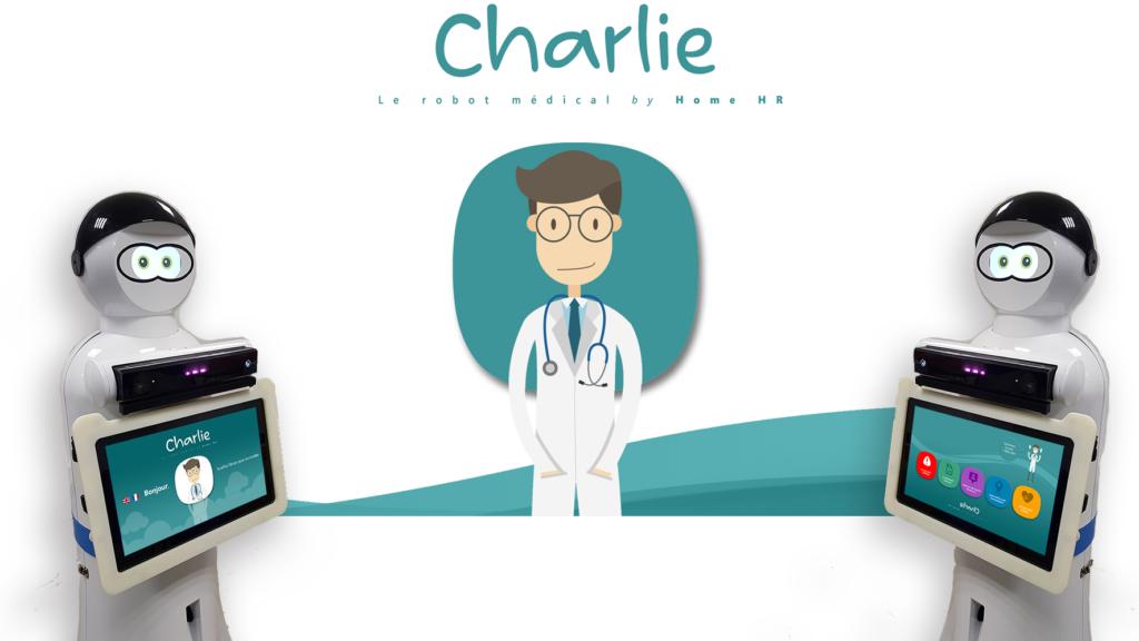 Diapo 2 : Image de deux robots Charlie avec l'interface du système