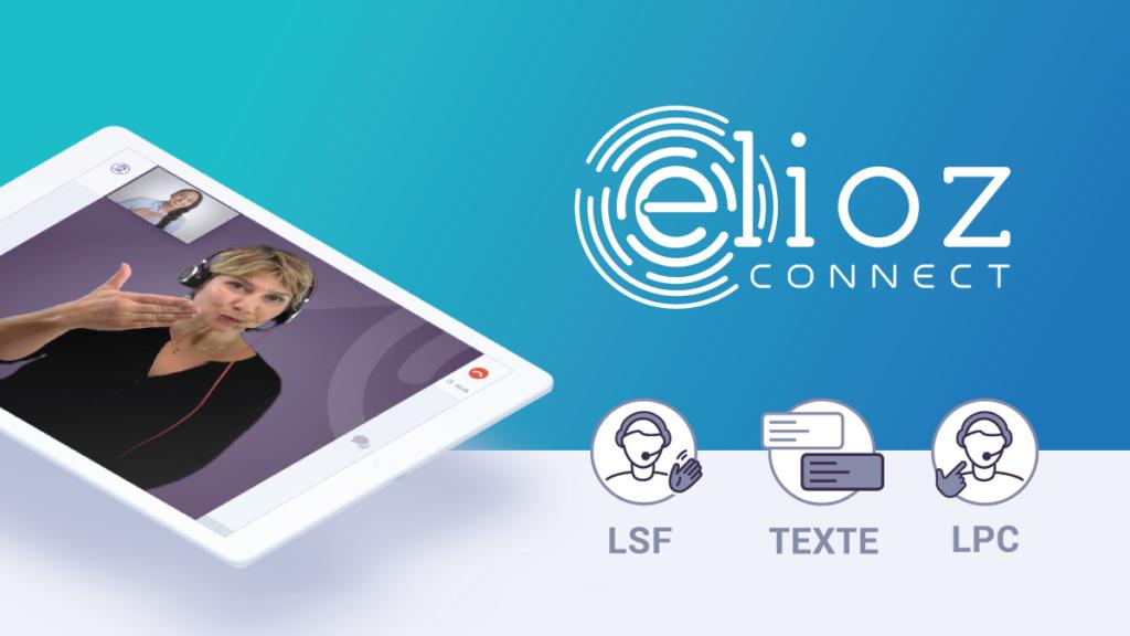 Diapo 3 : Image avec l'application Elioz sur une tablette avec une femme traduisant en Langue des signes