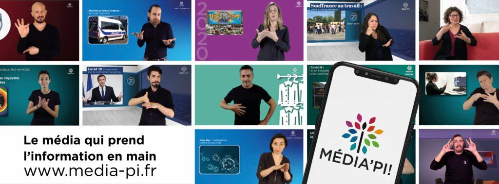 Diapo 2 : Image du logo Média'pi sur un smartphone avec derrière des photos d'interprètes en langue des signes