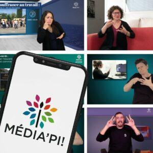 Image du logo Média'pi sur un smartphone avec derrière des photos d'interprètes en langue des signes