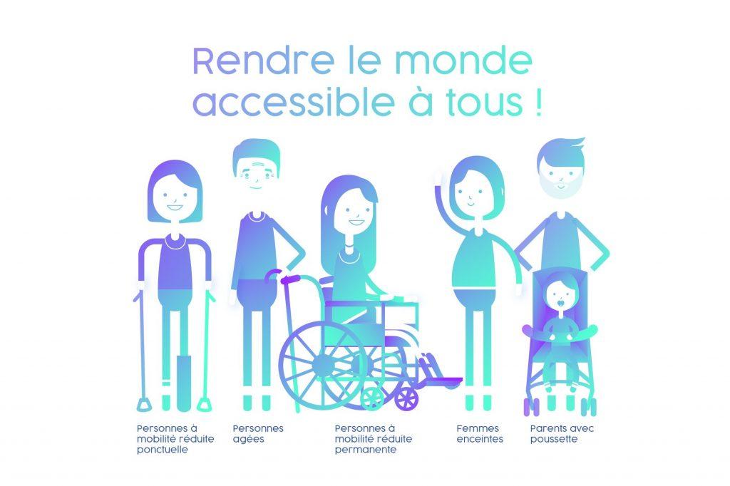 Diapo 2 : illustration montrant des personnes à mobilité réduite