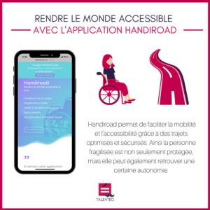 Image de l'application Handiroad dans un smartphone, avec une description de l'application à côté