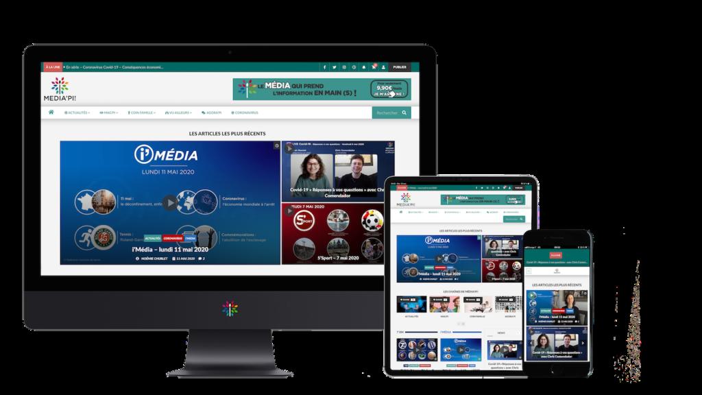 Diapo 3 : Image de l'interface de Média'Pi sur un ordinateur, une tablette et un smartphone