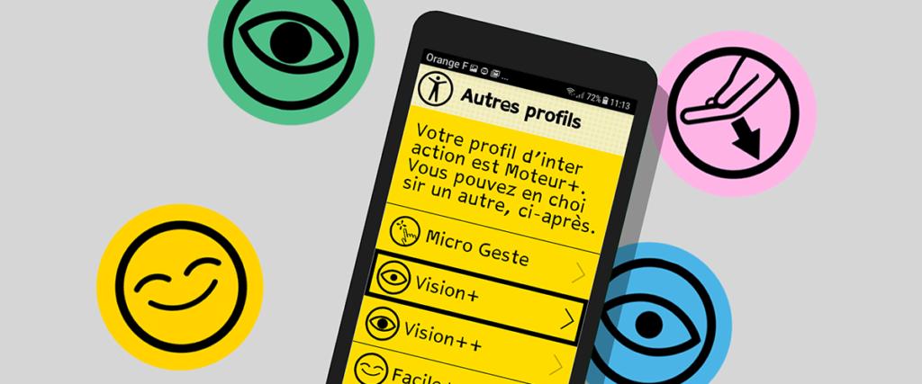Diapo 3 : Image des paramètres de Tactile Facile su un téléphone (Micro geste, Vision +, Vision ++)