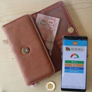 Portefeuille trieur d'argent en espèces marron et un l'application OTO