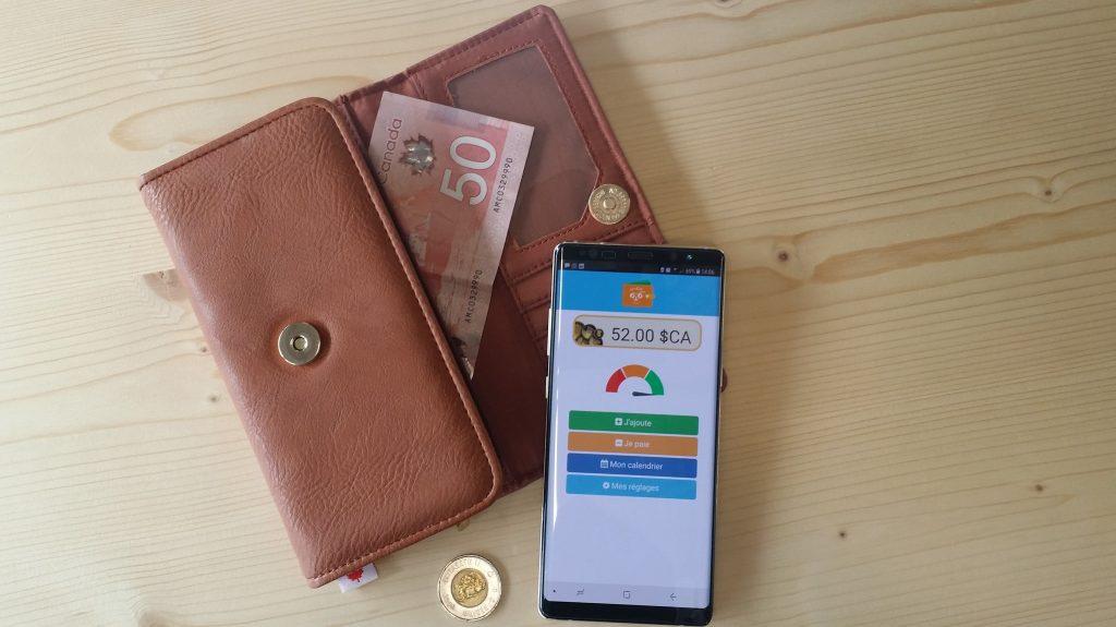 Diapo 2 : Portefeuille trieur d'argent en espèces marron et un l'application OTO