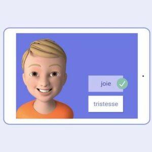 Image de l'application Emoface avec un petit garçon qui sourit et à côté une case «joie» et une case «tristesse»