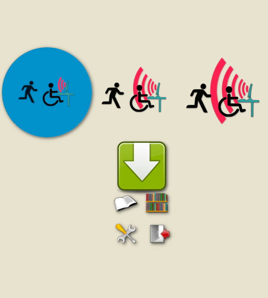 Diapo 2 : pictogrammes représentant des individus en fauteuil roulant