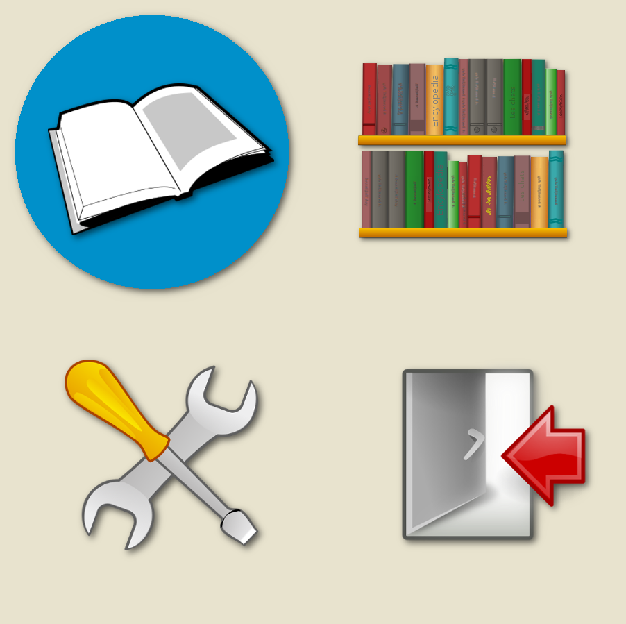 Diapo 5 : pictogrammes représentant des livres, une porte et des outils
