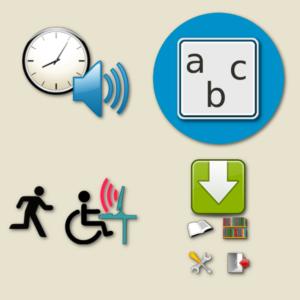 pictogrammes représentant une horloge et des lettres