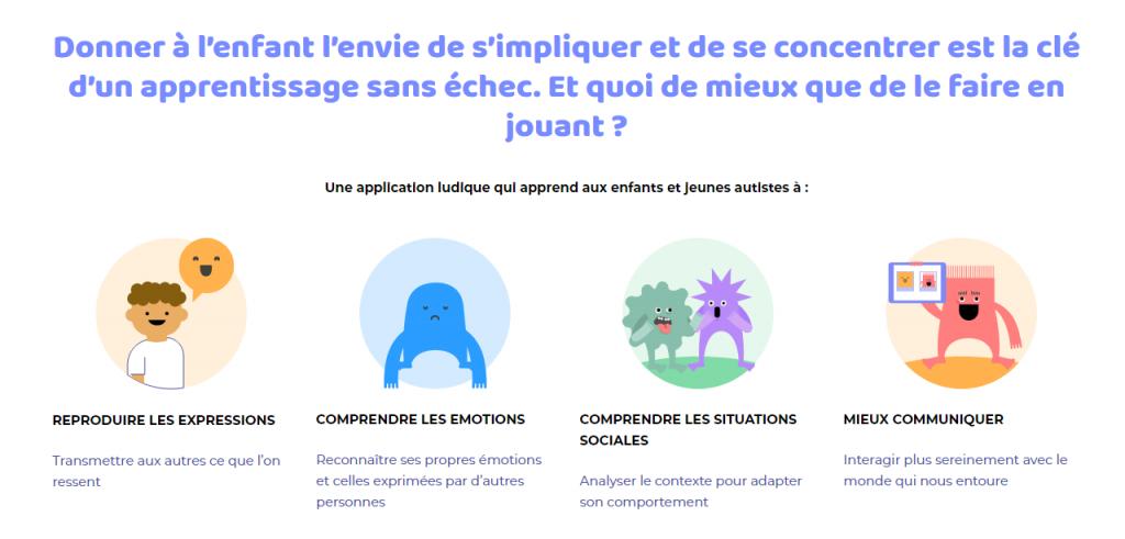 Diapo 3 : capture d'écran du site d'Emoface expliquant les possibilités de l'application : reproduire les expressions, comprendre les émotions, comprendre les situation sociales et mieux communiquer = ce sont les objectifs de l'application