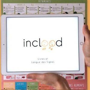 Image du logo Inclood sur une tablette