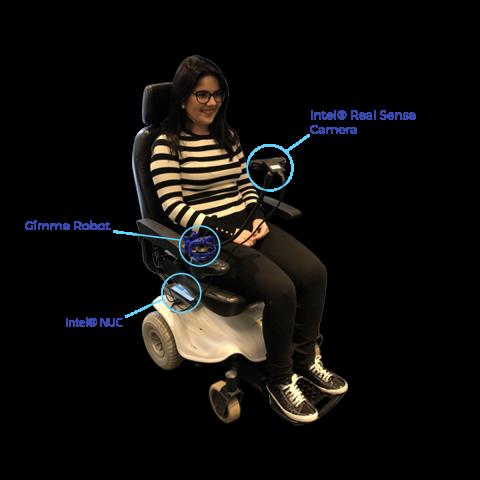 Diapo 3 : une femme en fauteuil roulant utilisant wheelie