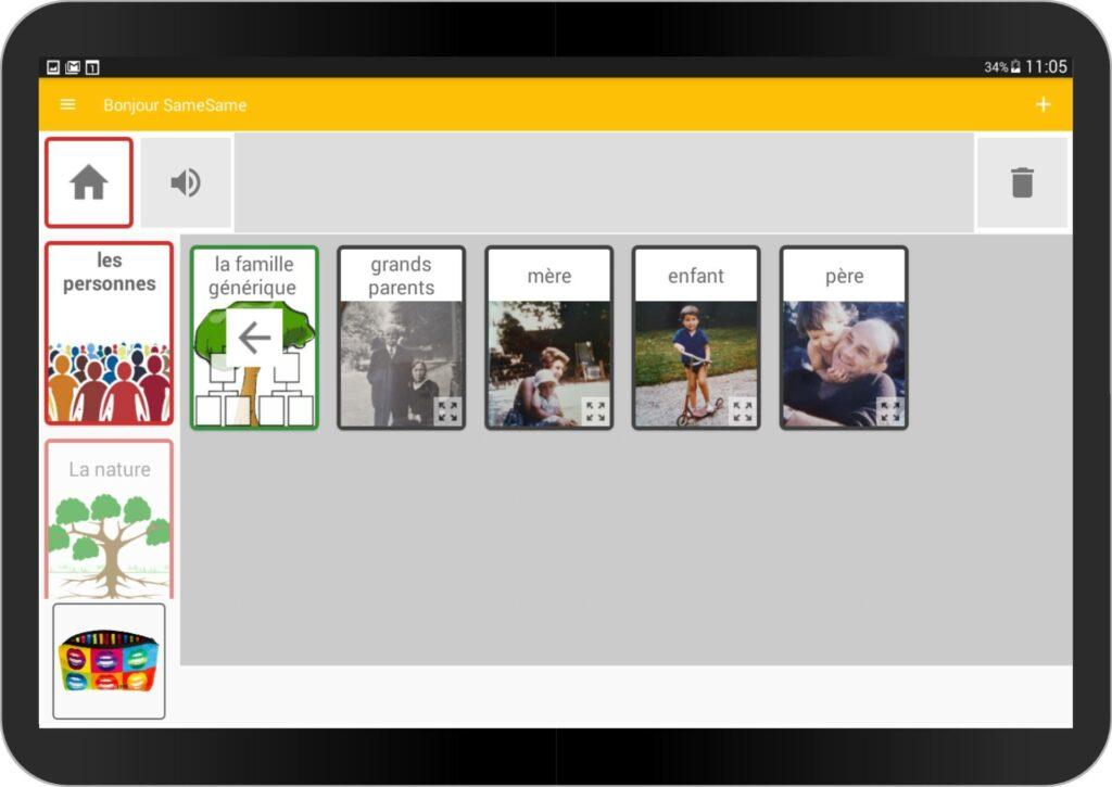 Diapo 5 : photo qui représente l'application gong sur une tablette avec différents membres de la famille