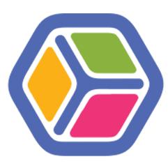 logo Ubikid, un carré en 3D avec sur chaque côté des couleurs différentes
