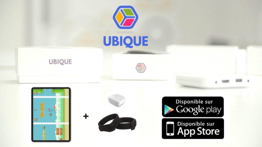 Diapo 2 : image qui montre un des jeux de ubikid et les bracelets connectés de ubikid, ainsi que l'endroit où on peut les télécharger