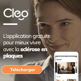 Image d'une femme qui souris en arrière plan, avec l'application sur un téléphone et la phrase «L'application gratuite pour mieux vivre avec la sclérose en plaques» en avant-plan