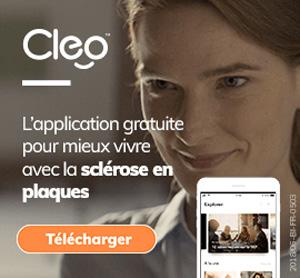 Image d'une femme qui souris en arrière plan, avec l'application sur un téléphone et la phrase «L'application gratuite pour mieux vivre avec la sclérose en plaques» en avant-plan,