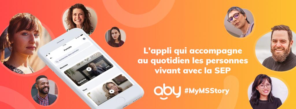 Diapo 2 : grande image avec un fond orange sur lequel il y a des visages et l'application Aby sur un smartphone