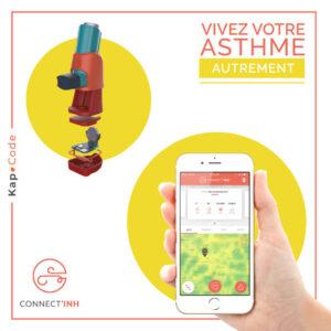 Image du dispositif Connect'Inh accouplé à l'application sur un smartphone