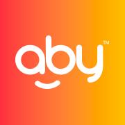 Logo Aby, avec aby écrit en blanc sur un fond orangé