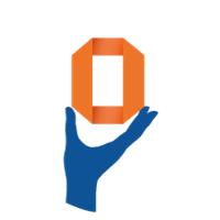 le logo andibo avec une main bleue tenant une forme orange et ronde