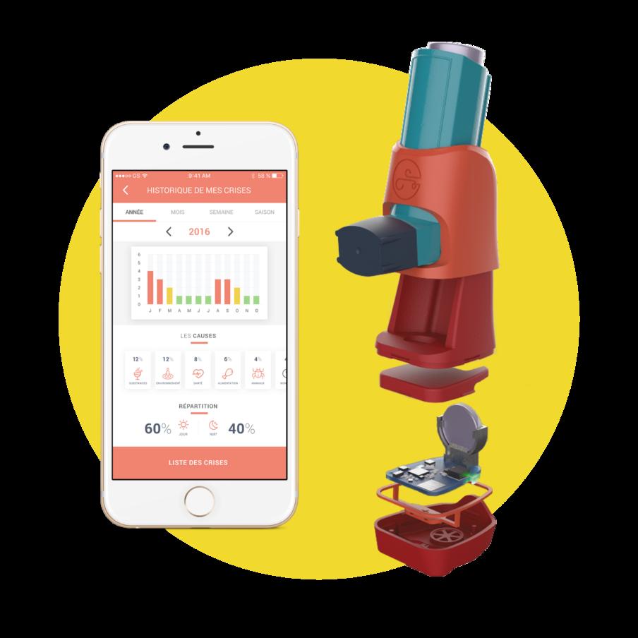 Diapo 2 : l'application connect'inh sur un smartphone et un boitier universel pour inhalateur