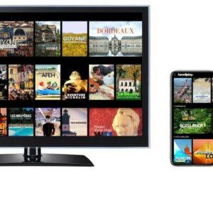 Image des contenus disponibles sur la plateforme Handi Play TV dans une télévision et un smartphone