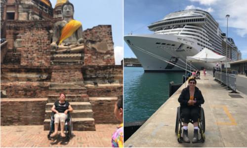 Diapo 3 : Personnes en fauteuils roulants en voyage, devant un monument et devant un yacht