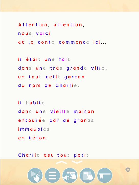 Diapo 4 : Image d'une des fonctionnalités de Sondo, aidant les personnes DYS à lire les mots qui sont de couleurs différentes